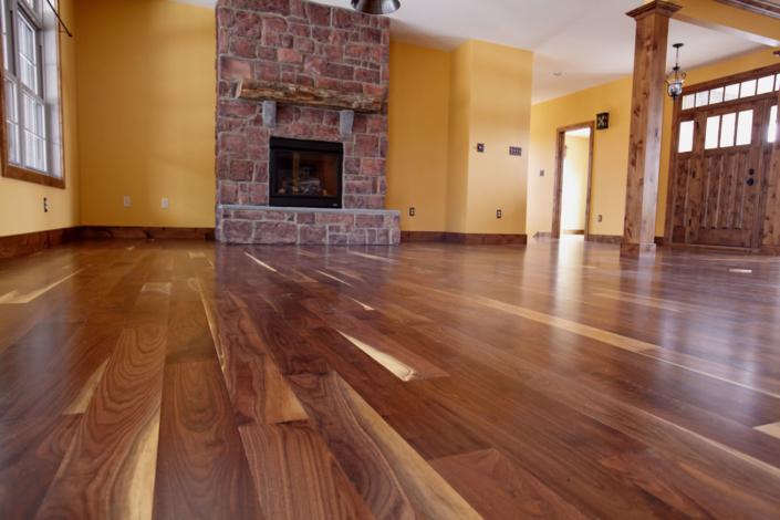Walnut flooring with knotty alder